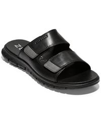 Cole Haan Zag Multistrap Slide Leather Sandal - Black