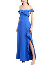 BCBGMAXAZRIA Maxazria Ruffle Maxi Dress - Blue