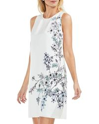 Vince Camuto Botanical Floral Sleeveless Shift Dress - Blue