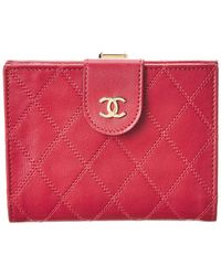 Chanel - Pink Quilted Lambskin Leather Wallet - Lyst