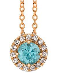 Le Vian ? 14k Strawberry Gold? 0.62 Ct. Tw. Diamond & Blue Zircon Pendant