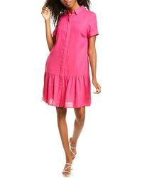 Donna Morgan Shirred Linen-blend Shirtdress - Pink