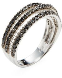 Rina Limor - Silver Black & White Diamond Five Row Ring - Lyst