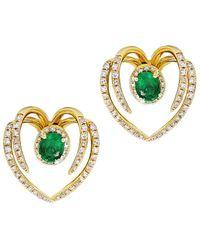 Diana M. Jewels . Fine Jewelry 14k 1.10 Ct. Tw. Diamond & Emerald Ear Jackets - Metallic
