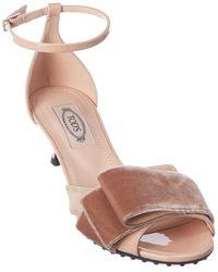 Tod's Tod?s Bow Ribbon Detail Patent & Velvet Sandal - Pink