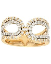 Nephora - 14k Two-tone 0.85 Ct. Tw. Diamond 2 Row Curved Ring - Lyst