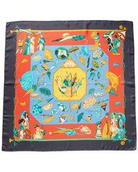 """Hermès """"ombrelles Et Parapluies"""" By Hubert De Watrigant Silk Scarf - Blue"""