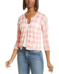 Autumn Cashmere Check Cashmere Baby Cardigan - Pink