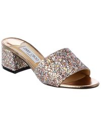 Jimmy Choo Minea Glitter Leather Mule - Metallic
