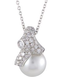 Mikimoto 18k 0.97 Ct. Tw. Diamond & 12-13mm Pearl Necklace - Metallic