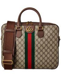 Gucci Web Ophidia GG Supreme Canvas & Leather Briefcase - Brown