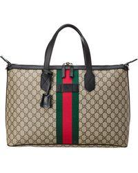 Gucci Brown GG Supreme Canvas & Leather Web Duffle Bag