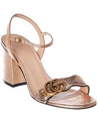 Gucci GG Metallic Laminate Leather Sandal