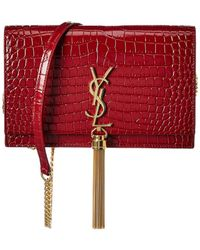Saint Laurent Kate Tassel Croc-embossed Leather Wallet On Chain - Red