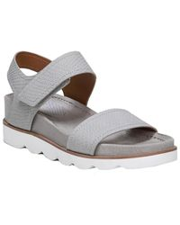 Franco Sarto India Leather Wedge Sandal - Grey