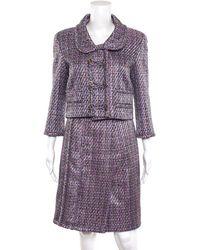 Chanel Purple Multicolour Cotton Blend Long Sleeve Skirt Suit (size French 38)
