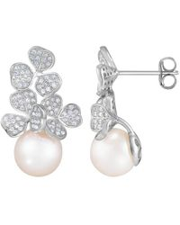 Splendid Splendid Pearl Rhodium Plated 8.5-9mm Pearl Cz Earrings - Multicolour