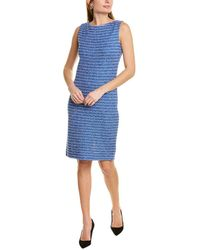 St. John Tweed Wool-blend Sheath Dress - Blue