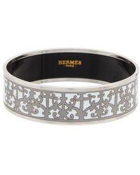 Hermès Palladium Printed Enamel Wide Bangle - Metallic