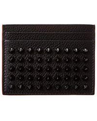 Christian Louboutin Kios Studded Leather Card Holder - Black