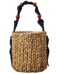 PAMELA MUNSON Petite Isla Straw Bucket Bag - Brown