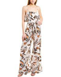 otain Luxuriant Sleeveless High Waist Jumpsuit Printed Wide Leg Pants Romper