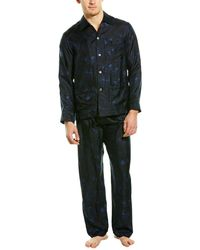 Valentino 2pc Silk Pyjama Pant Set - Blue