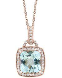 Effy 14k Rose Gold 2.87 Ct. Tw. Aquamarine Pendant Necklace - Metallic