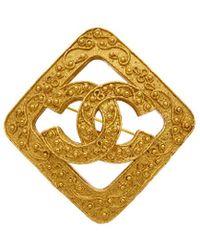 Chanel Gold-tone Filigree Square Pin - Metallic