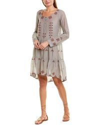 Johnny Was Silk-blend Shift Dress - Gray