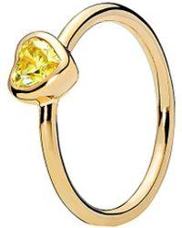 PANDORA 18k Over Silver Cz Radiant Heart Ring - Metallic