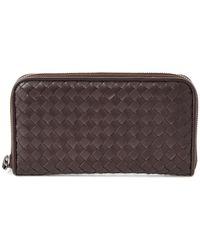 Bottega Veneta Intrecciato Nappa Leather Zip Around Wallet - Brown