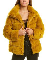 Adrienne Landau Funnel Neck Coat - Yellow