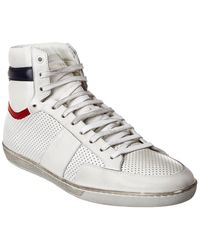 Saint Laurent Court Classic Si/10h Perforated Leather Sneaker - White