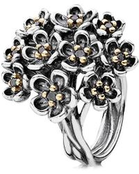 PANDORA - Forever Bloom 14k Yellow Gold & Silver Spinel Ring - Lyst
