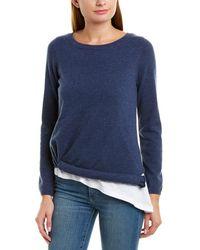 525 America Layered Asymmetrical Cashmere Sweater - Blue