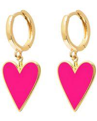 Gabi Rielle Gold Over Silver Candy Pink Enamel Heart Earrings