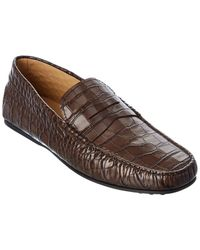 Tod's Tod?s Gommini Croc-embossed Leather Loafer - Brown