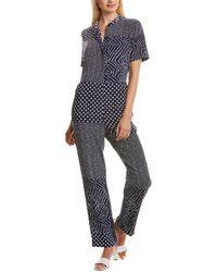Diane von Furstenberg Lucy Patchwork Silk Shirt Jumpsuit - Blue
