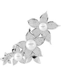 Splendid - Rhodium Plated Silver 8-11mm Freshwater Pearl Brooch - Lyst