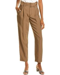 Vince High-waist Belted Tapered Pant - Grey
