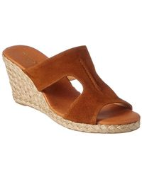 Andre Assous Alana Suede Wedge Sandal - Brown