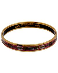 Hermès Gold-plated & Printed Enamel Narrow Bangle - Brown