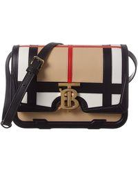 Burberry Monogram Small Leather Shoulder Bag - Black