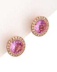 Diana M. Jewels . Fine Jewellery 14k Rose Gold 2.15 Ct. Tw. Diamond & Topaz Circular Studs - Pink