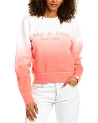 Rag & Bone Dip Dye Terry Crew Relaxed Fit Sweatshirt - Pink