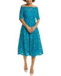 Teri Jon Floral Lace A-line Dress - Blue