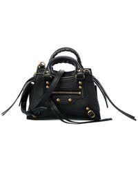 Balenciaga Neo Classic Mini Leather Shoulder Bag - Black
