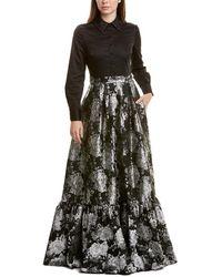 Badgley Mischka Jacquard Gown - Black