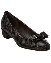 Ferragamo Vara Bow Studded Leather Pump - Black